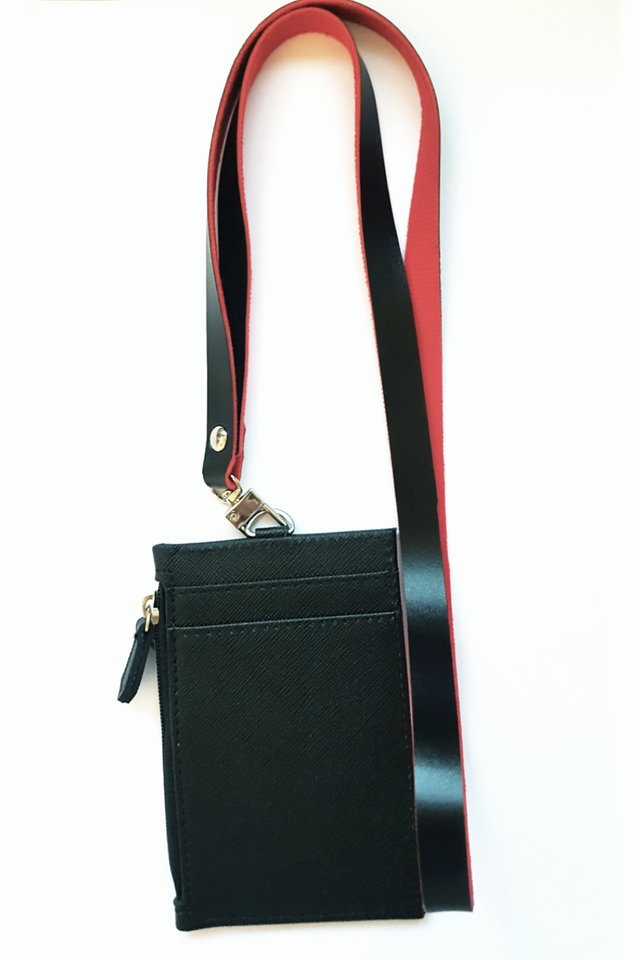 Black Zip Cardholder With Duo Colour Lanyard Set