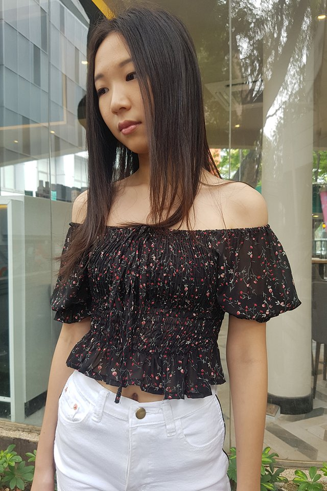 FAQLABEL - Floral Chiffon Smock Top (4 colours)