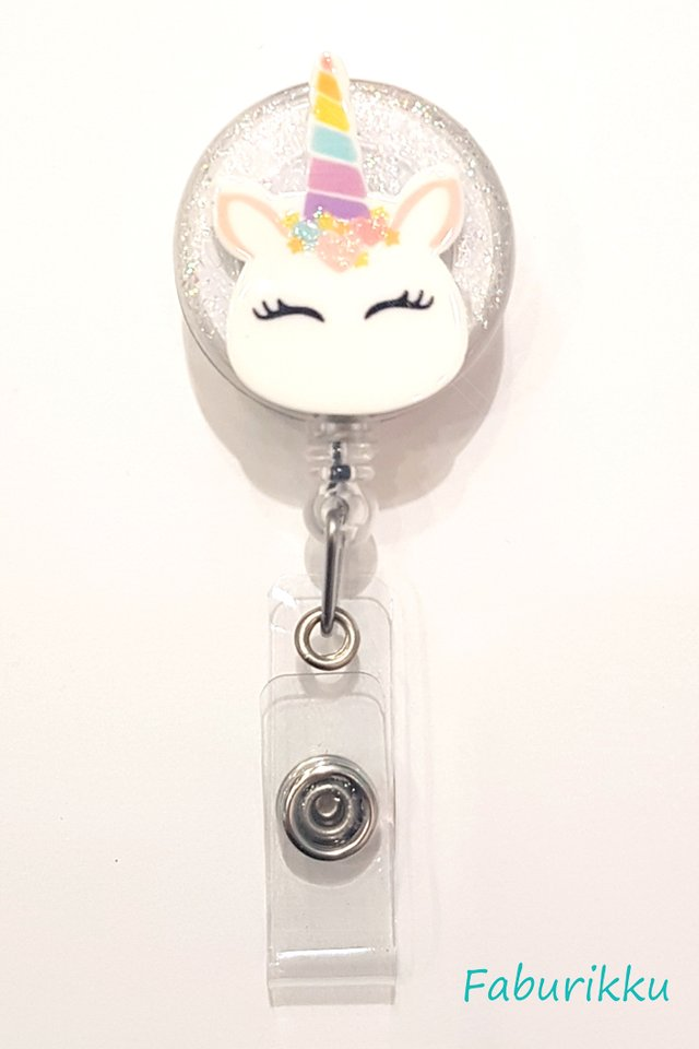 3D Unicorn Marshmallow Clear Clip-On Badge Reel