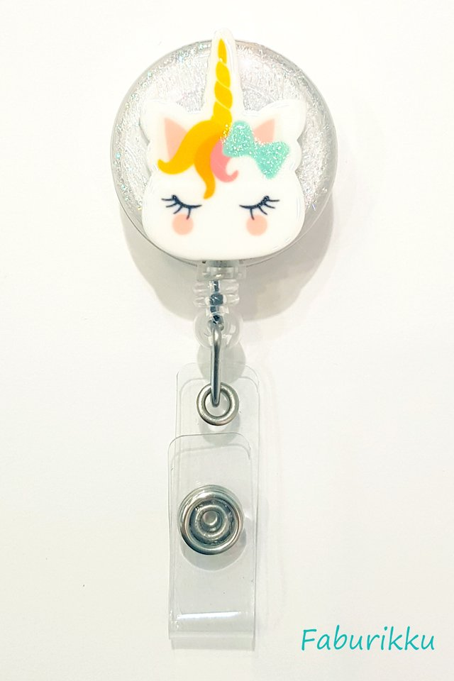 3D Unicorn Skippy Clear Clip-On Badge Reel