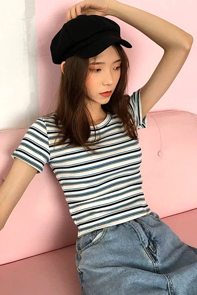 Becks Colour Stripe Rib Tee (5 colours)