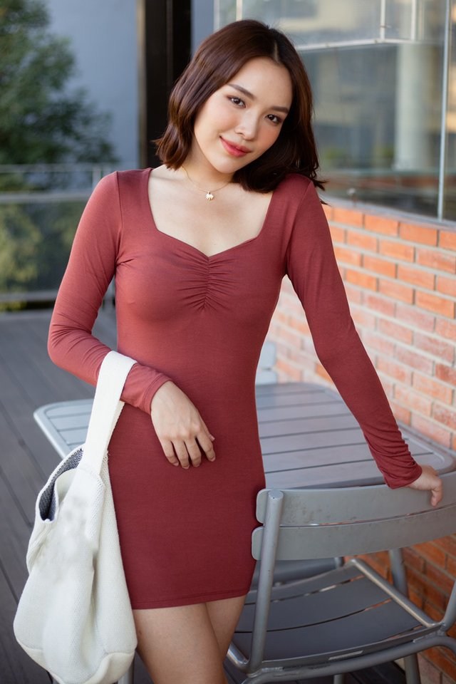Heart Ruched Fitted Dress (3 colours)