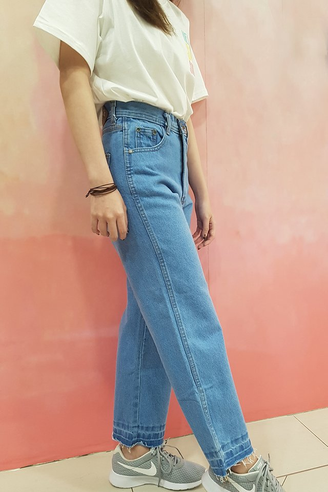 Light Blue Fray Hem Denim Jeans