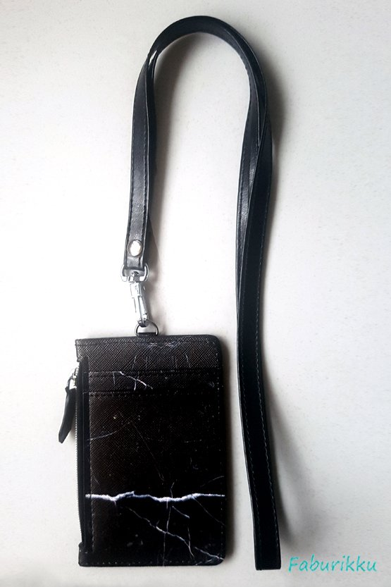 Black Marble Zip Cardholder with Black Side Stitch Lanyard Set