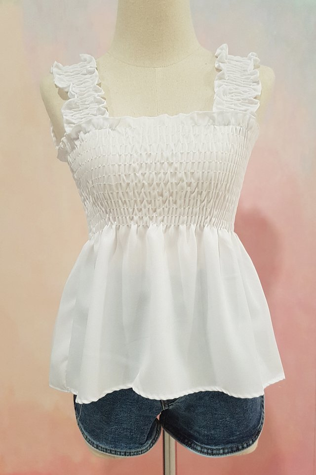 Basic Smocked Strap Top (White)
