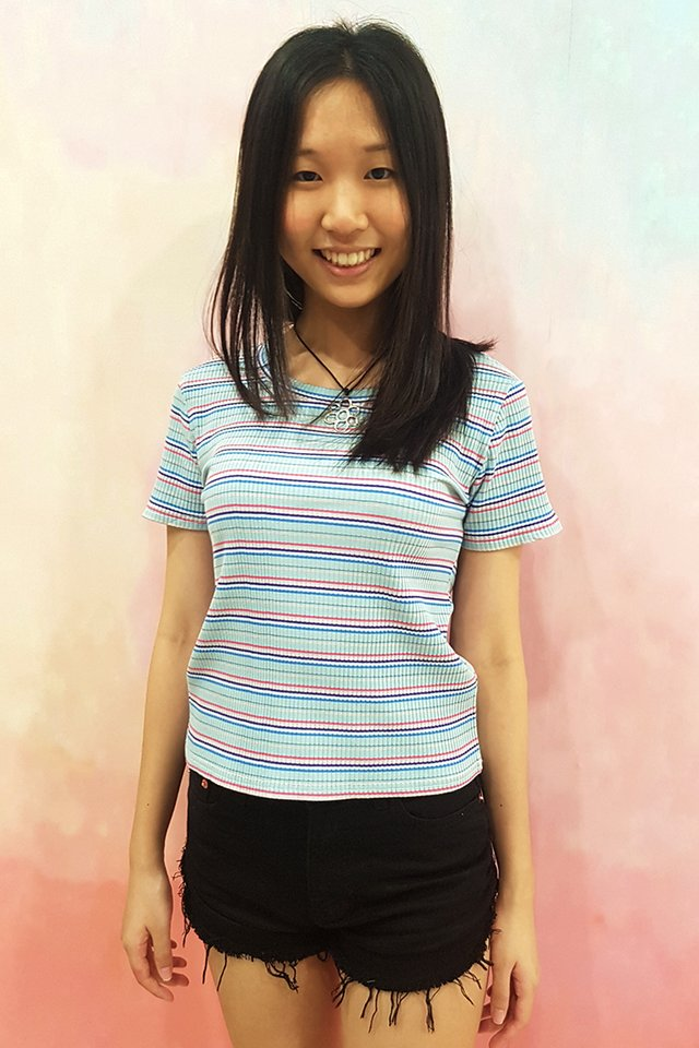 Jody Colour Stripe Rib Tee (2 colours)