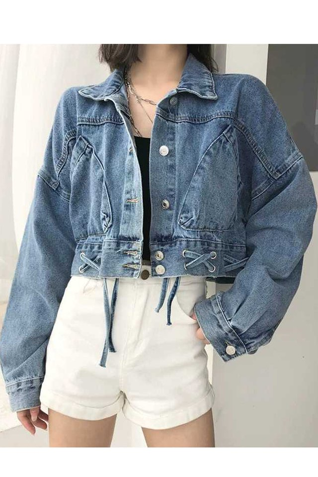 Crisscross Lace Up Denim Jacket