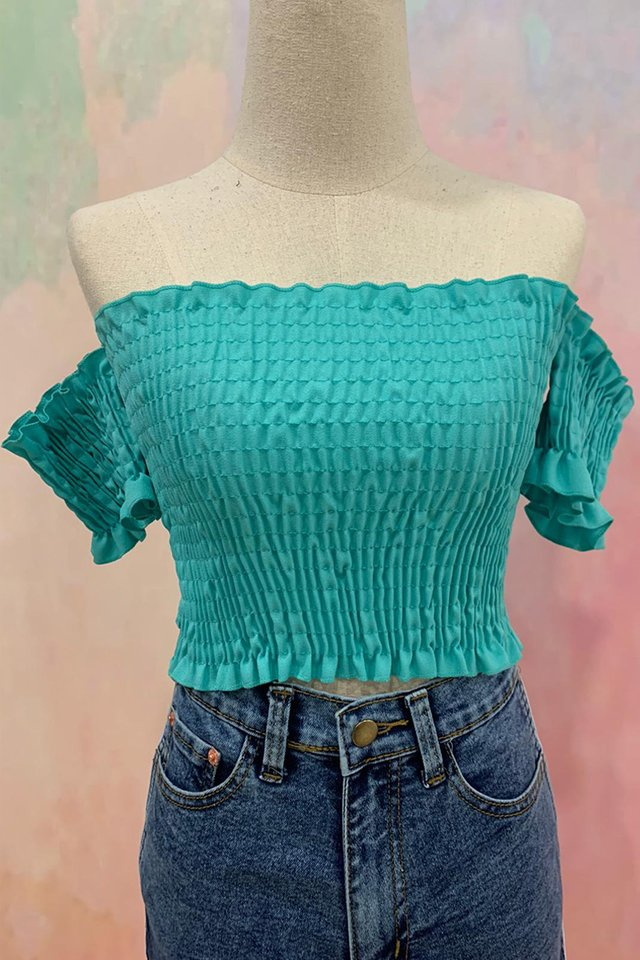 Smocking Crop Top Seafoam
