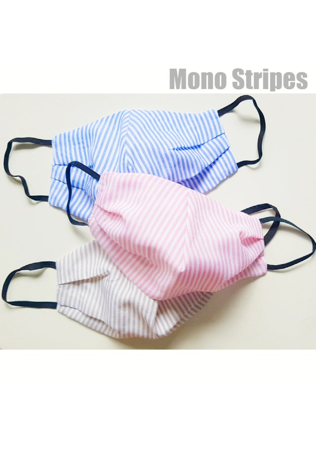 Handmade Reusable 3ply Cloth Mask - Mono Stripes