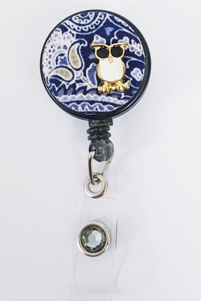 Owl Batik Blue Clip-on Badge Reel