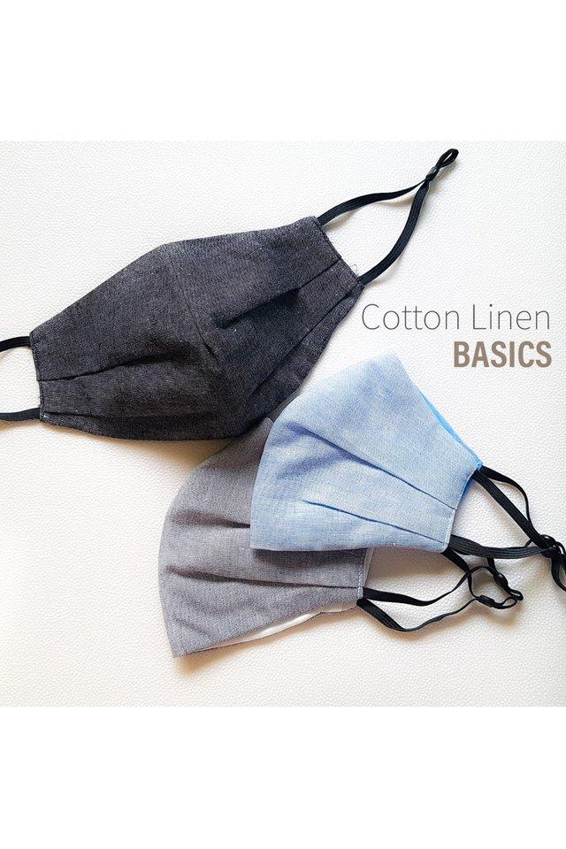 Handmade Reusable 3ply Cloth Mask - Cotton Linen Basics