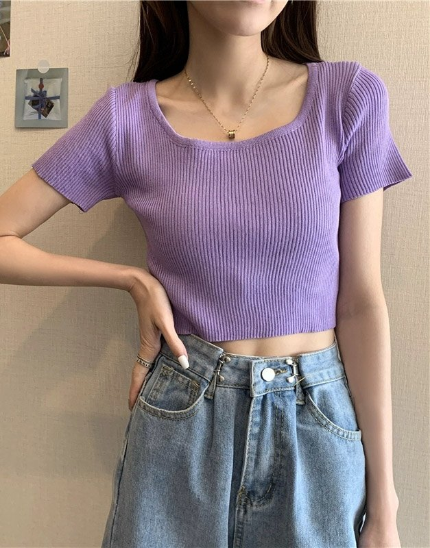 Square Rib Knit Crop Top (4 Colours)