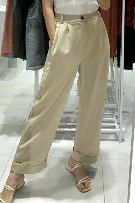 Fold Up Hem Pants (3 colours)