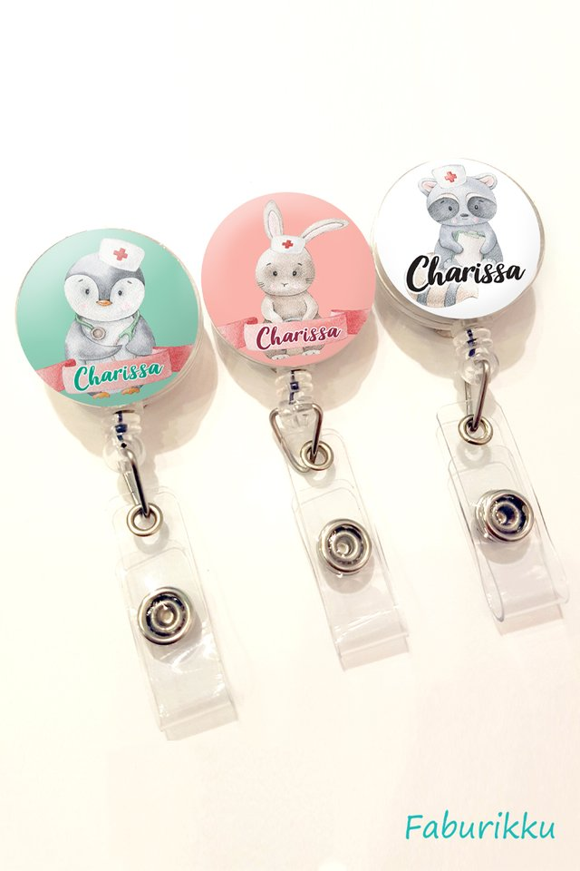 Personalise Nurse Cute Animal Theme Badge Reel (Clip-on)