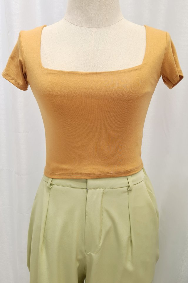 Square Neck Crop Short Sleeve Top (7 colours) 2